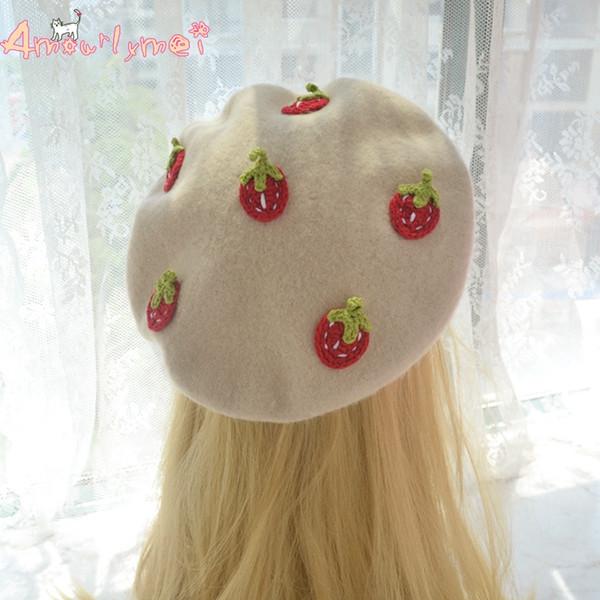 Amourlymei Hot Sale Boina Feminino Japanese Style Mori Girl Lolita Small Fresh Strawberry Beret Cap Women Winter Cute Wool Hats