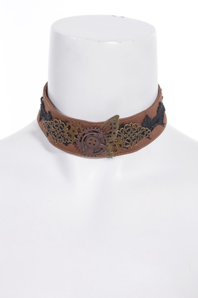 Steampunk Accessories Butterfly Choker Metal Necklace Brown color SP037