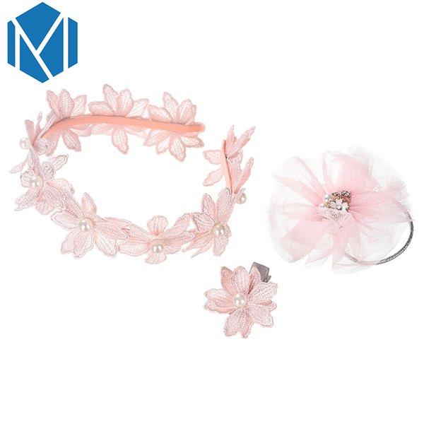 M MISM 3PCS/Set Girls Flower Princess Hair Bands Accessories Pearl Embroidery Hair Clip Mesh Elastic Rubber Bands Scrunchy