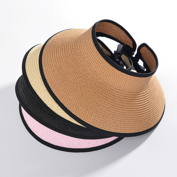 2017 New Summer Fashion Women Lady Foldable Roll Up Sun cap Beach Wide Brim  Straw Visor Big brim Hat Empty top Caps For Ladies 29110073f483