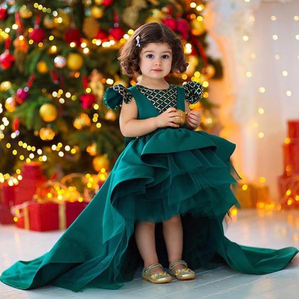 Robes De Fille De Fleur De Robe De Bal De Paillettes De Chasseur Pour Mariage Haut Bas Toddler Pageant Robes Satin Tiered Noël Enfants Robe De Bal