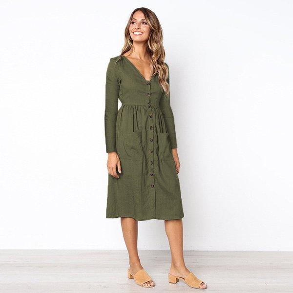 2018 printemps et en automne femmes Caual robes robes de travail élégant Vintage avec poche en V-cou tout match occasionnel robes plissées vêtements pour femmes