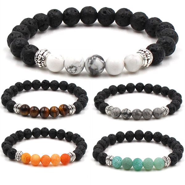 Free DHL 7 Style Fashion Jewelry Frosted Stone Beads Natural Lava Stone Bracelets Protection Energy Healing Aroma Bracelet G112S