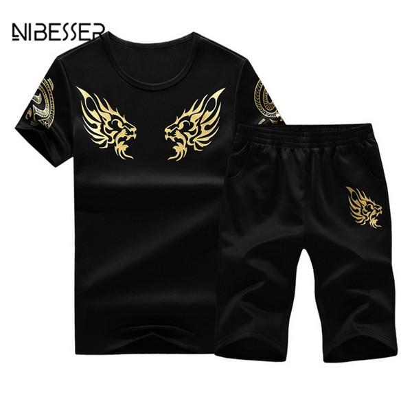 NIBESSER Men's Tracksuit Summer Printed Fitness Suit Short Sleeve T Shirt Shorts + Short Pants Male Track Suit Plus Size M-4XL