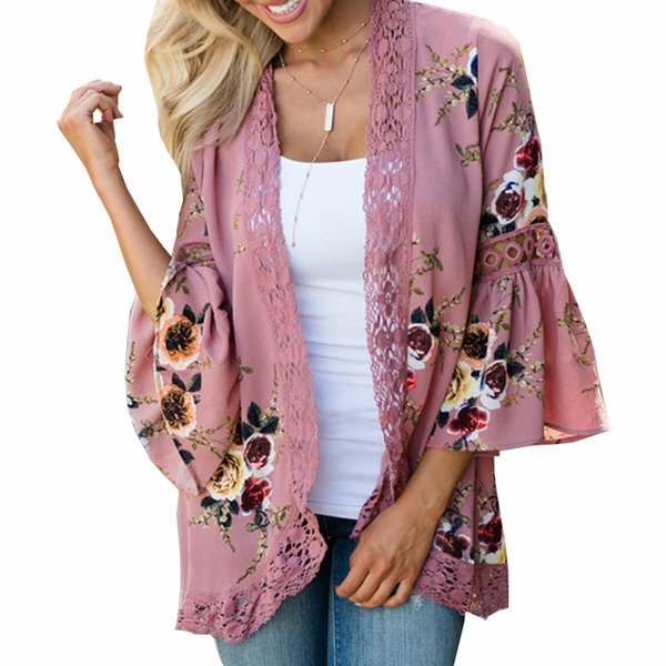 New 3XL Boho Women Summer Outwear Tops Printed Lace Floral Blouses Open Stitch Flare Sleeve Beach Shirts Plus Size Blusas GV448