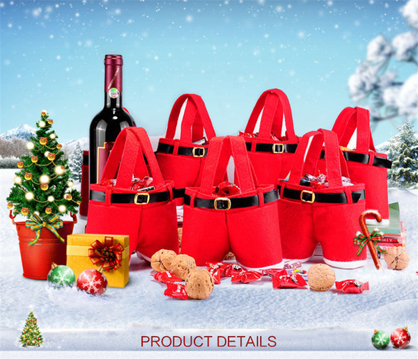 New Christmas Lovely Santa Claus Pants Candy Gift Bag Xmas Wine Bottle Handbag Wedding Red Color Nonwoven Gift Bags Decoration Hot