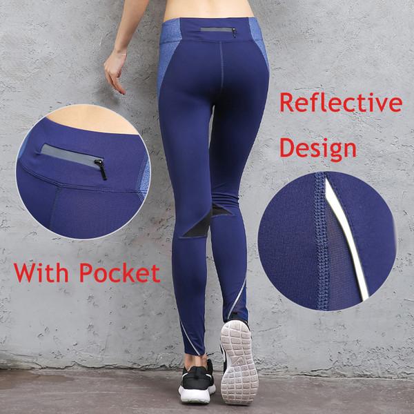 Pantalones de yoga reflectantes Mujeres de cintura alta Mallas para correr Pantalones de gimnasio Entrenamiento Jogging transpirable Leggings deportivos de secado rápido