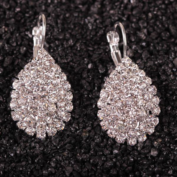Women Boucle Crystal Jewelry White silver Dazzling Cubic Zirconia Rhinestone Wedding Earrings Stud Brincos