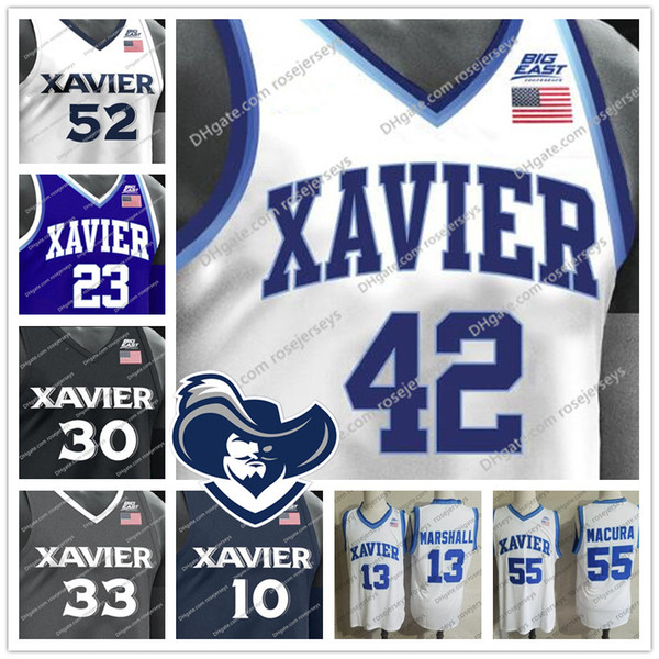 ncaa xavier musketeers #2 kyle castlin 4 elias harden 32 ryan welage 35 zach hankins white gray navy royal blue black jersey s-4xl