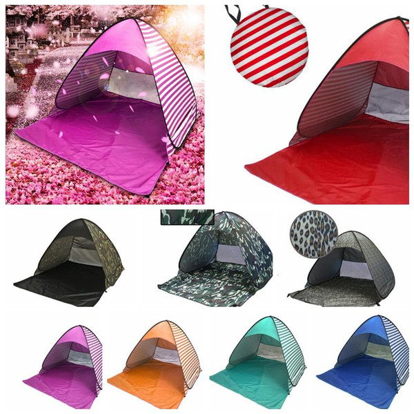 top popular Brand designer For 2-3 Person Camping Tent Outdoor Sun Shade Hiking Beach Tent Automatic Portable Pop Up Beach Tent LJJK1007 2021