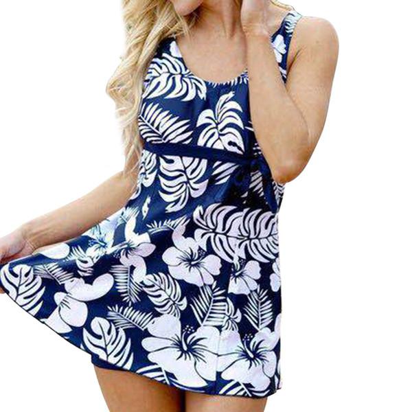 vente en gros Imprimer Floral femmes maillots de bain 2 pièces costume maillots de bain femmes tankini avec shorts maillots de bain rembourré plage robe sans manches