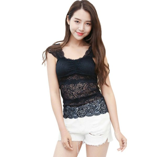 Summer Sexy Padded Lace Flower Bralet Tank Tops Women Clothing Casual Lace Tank Tops Hollow Translucent Vest T6