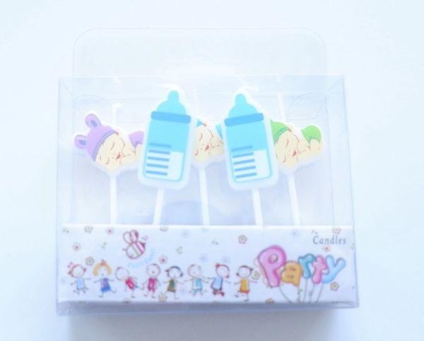 5 unids / lote Baby Boy Party Supplies Niños Velas de Cumpleaños Decoraciones Del Partido de Tarde Set Birthday Wedding Cake Candles