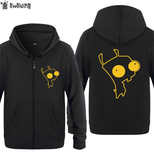 Zipper Hoodies Men Invader Zim Dog Gir Anime Cartoon Mens Hoodie Fleece Long Sleeve Man's Jacket Sweatshirt Fitness Tracksuit