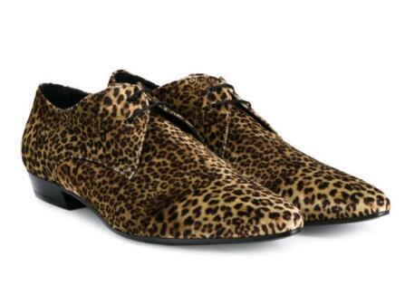 New design real leather shoe leopard print cow suede men casual shoes lace up flats fashion brand pointed toe shoes