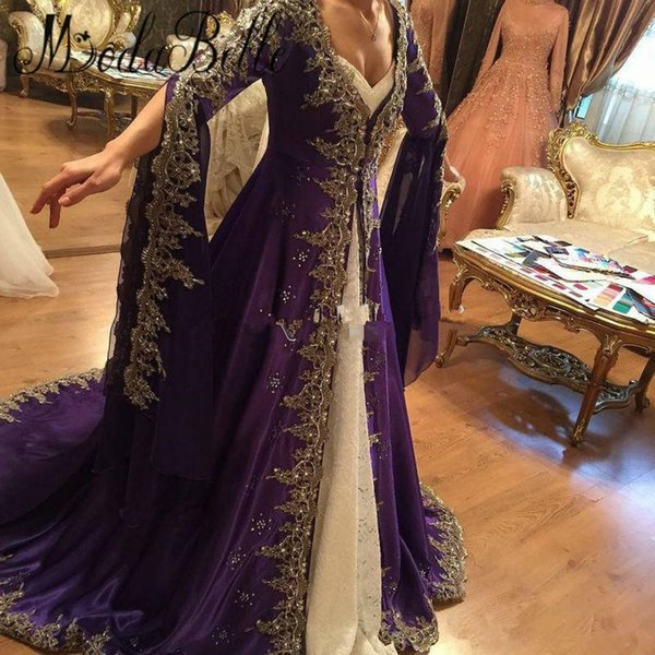 Arabic Lace Long Sleeve Prom Dresses With embroidery Muslim Dubai Party Dresses 2018 Glamorous Purple Turkish Evening Gowns Formal Wear