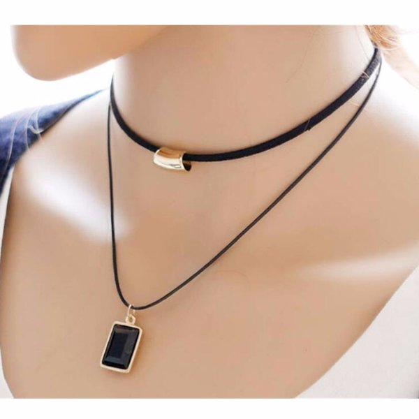 Multilevel Square Glass Choker Necklace For Women Love Statement Bijoux Collares Jewelry Exo Colar 2017 Gift One Direction NA778