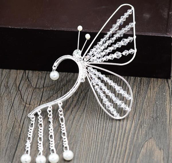 Butterfly earrings, crystal beads, handmade bride accessories, new female fairy ears, new style comb earrings.