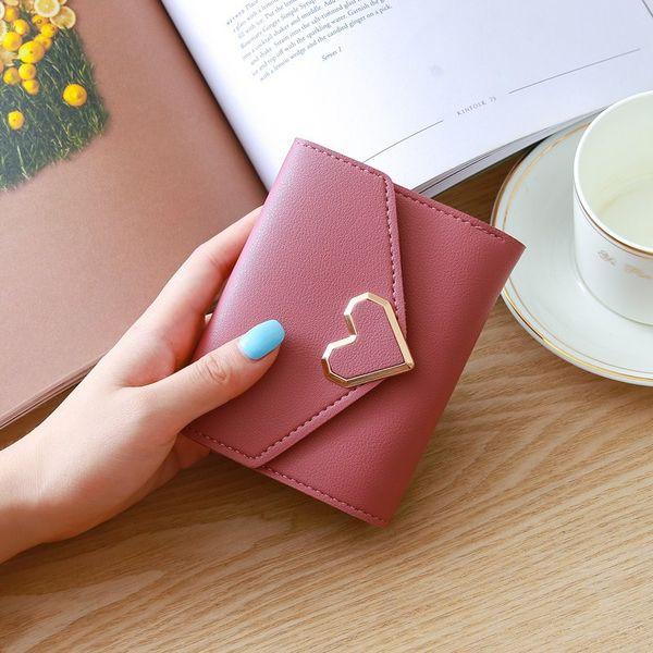 15PCS Designer Heart Cute Pink Small Wallet for Women Lady Mini Clutch Coin Purse Card Holder Pocket Girl Short Wallets Zipper