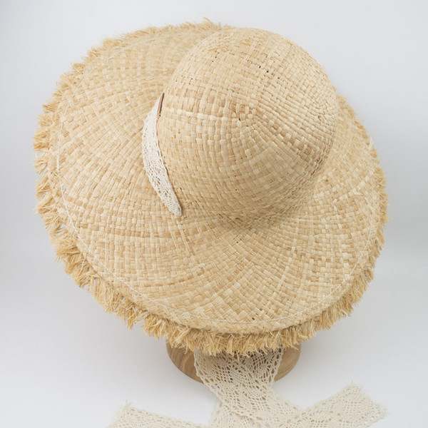 EPU-MH1815 2018 New Hand Crochet Raffia Grass Loose Edge Brim Natural Straw hat for Sunny Beach and Summer Casual Occasions Lady and Women