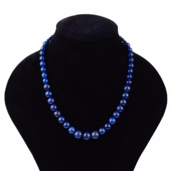 Trendy 100% Pedra Natural Lapis Lazuli Colar De Contas Boho Handmade Pedra De Pedras Chocker Colares Para As Mulheres Homens Jóias Dropship