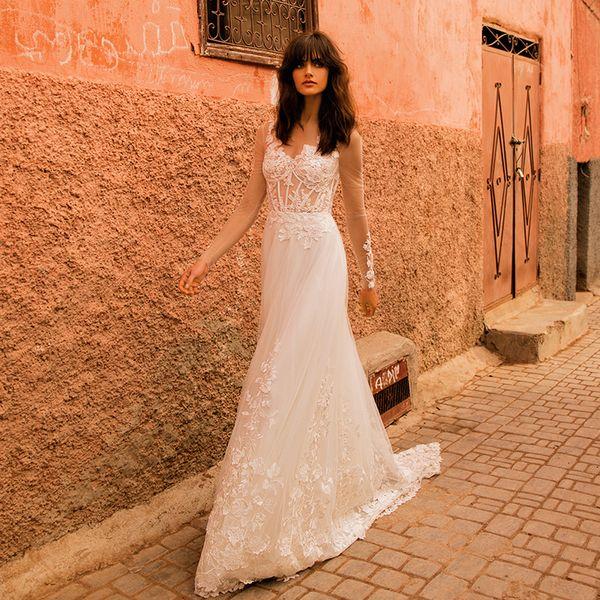 2019 Long Sleeve Lace Country Wedding Dresses Appliques Sheer Neck See Through Wedding Dress Vestido De Novia