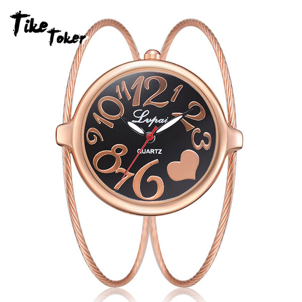 TIke Toker,Fashion Women Bracelet Watch  Top  Stainless Steel Gold Silver Ladies Wristwatch Female Clock Quartz Watch