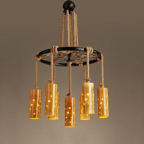 Rétro Chinois chanvre bambou industrielle pendentif lampes led lustre Japonais bambou lampe simple salon de thé pastorale bambou lustre éclairage