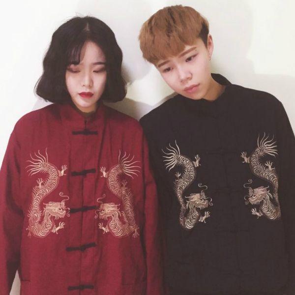 Harajuku Vintage Yokosuka Dragon Embroidery jacket Retro loose couple Coat Chinese Style Tang suit thin Gong fu Cardigan