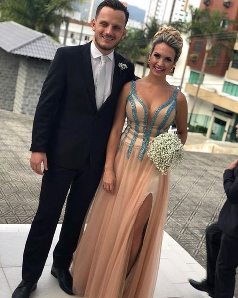 Champagne A-Line Sweetheart Formal Evening Dresses 2019 Tank Sequins Sparkly Night Party Dresses Leg Slit Evening Gowns