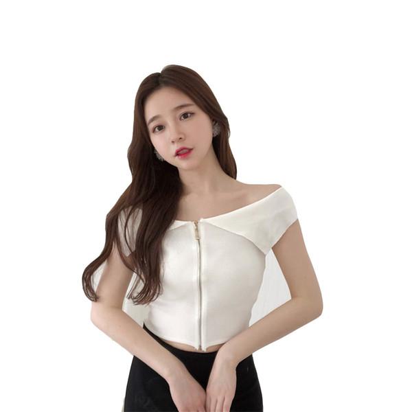 Loneyshow 2018 New Women Sexy Slash Neck Zipper Camis Navel Bare Crop Tank Tops Tees Slim Fit Tube Wipes Bosom Shirt