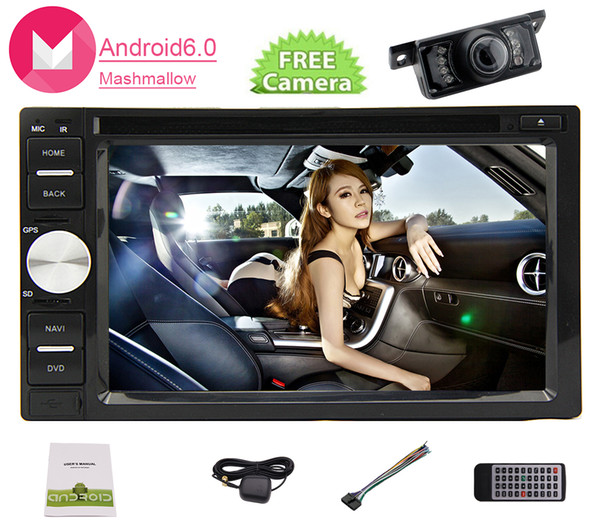 Android 6.0 Car dvd Stereo in Dash Double Din Headunit GPS Navigation Map 6.2'' 5point Touch Capacity Screen Car Monitor Bluetooth