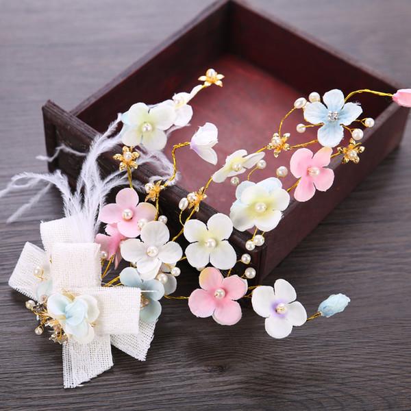 9pcs Pretty Pink Flower Bow Hair Pins Bridal Headband Handmade Pearl Crystal Wedding Tiara Accessories Women Hair Jewelry Headdress