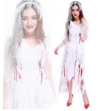 Freies Verschiffen 2016 neue Halloween Cosplay Kostüm blutigen Geist Braut Kostüm Zombie Bühne Kleidung weiß freie Größe