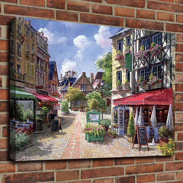 Oil Painting Ancient Paris The Street Canvas HD Print Poster Home Decor Canvas Art Wall Painting Poster Framed