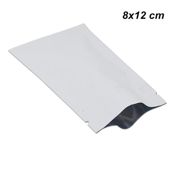 200pcs 8x12cm White Zipper Aluminium Foil Matte Sample Packets Mylar Foil Reusable Packing Bags Resealable Dehydrated Fruit Packing pouches