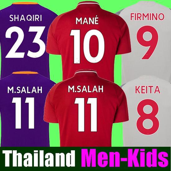 Salah soccer Jersey 2018 2019 Football kit SHAQIRI Shirt Keita HENDERSON MANE 18 19 FIRMINO VIRGIL Top Thailand MEN & kids set uniform