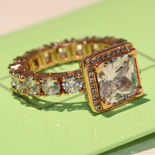 Espumante de Luxo Jóias Marca Desgin Choucong 925 Sterling SilverRose Gold Filled Princesa Cut Topaz CZ Diamante Mulheres Wedding Band Anel