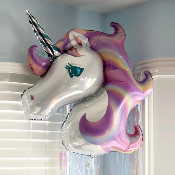 Unicorn Şekil 115x85 cm Balon Emniyet Alüminyum Folyo Hava Balonlar Ev Doğum Günü Partisi Düğün Süslemeleri Için Airballoon Güzel 4 s ...
