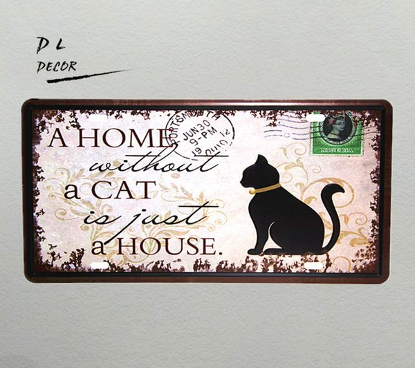 """DL-""""A HOME A CAT A HOUSE """" Vintage License plate metal Sign shabby chic home decoration accessories"""