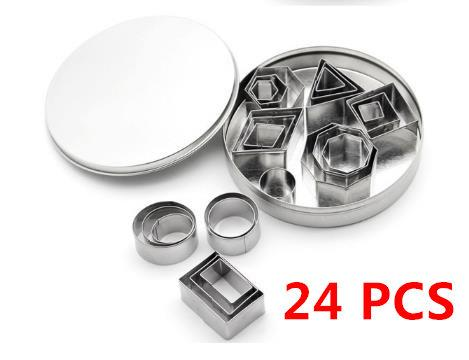 24 Pcs Stainless Steel Cookie Cutters set star bisuit mold Biscuit Cutter Geometric cake slicer for Baking fondant Dessert Design tool CCS01