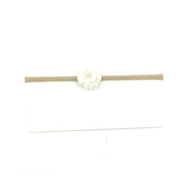 Compre Ivorie Pink Chiffon Flower Nylon Vendas Elásticas Mini ...