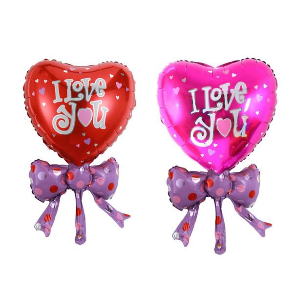 Gran venta !!! 10 unids / set Bow Tie Heart Love forma Foil helio globos San Valentín boda fiesta de compromiso decoración