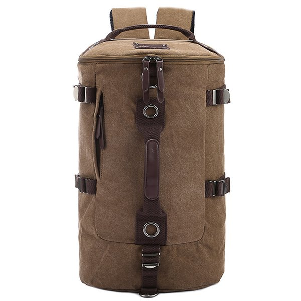 Men canvas backpacks outdoors bags Multi-function cylinder male and female backpack laptop bags shoulder crossbody school bag student bag