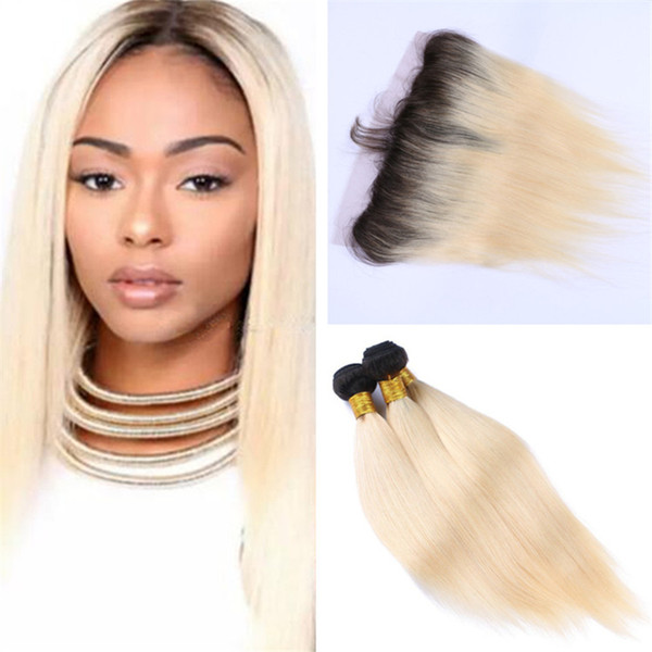 Two Tone 1B 613 Ombre Lace Frontal Closure and Bundles Dark Roots Platinum Blonde Ombre Peruvian Straight Human Hair Weaves with Frontal