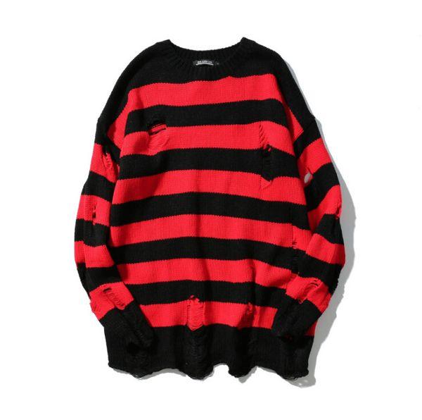 Großhandel Schwarze Und Rote Streifen Loch Gestrickte High Street Lose Sweater Pullover Herren Oversize Pullover Von Yoursuger, $55.82 Auf