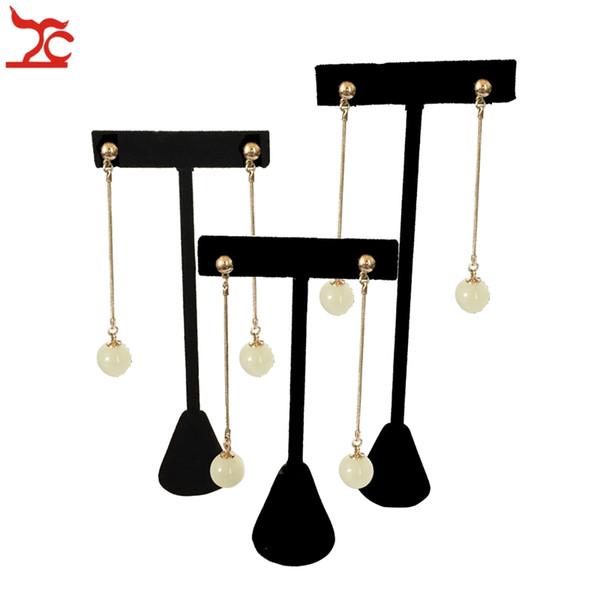 top popular Big Promotion Fashion Black Velvet Jewelry Display Rack T Bar Earring Stud Display Earrings Holder Organizer Hook Exhibition Showcase Stand 2021