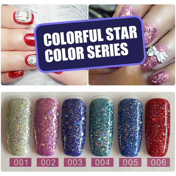 YIFEI Glitter Enamel Gel Varnish Manicure Need UV Lamp Gel Nail Starry Bling Lacquer Hybrid Diamond Nail Top Base Coat