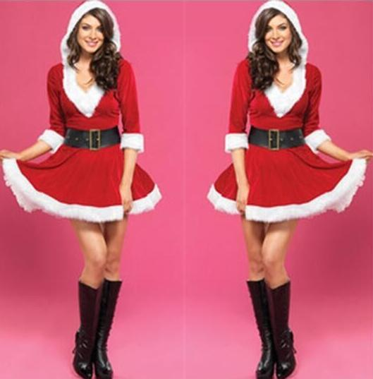 High Quality New Sexy Coser Women Fashion Santa Claus Xmas Costume Waistbelt Cosplay Outfit Fancy Dress Gift Ypf152