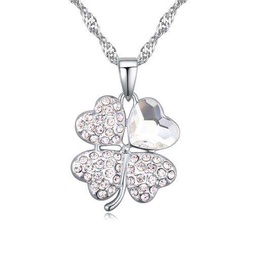 Trendy Clover pendant necklace for women with Crystals from Swarovski jewelry women girls Birthday Christams gift 2018